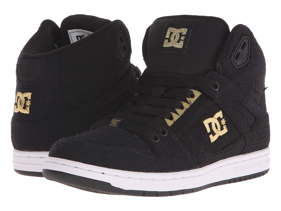 DC Rebound High TX SE Black/White/Gold Womens Skate Shoes