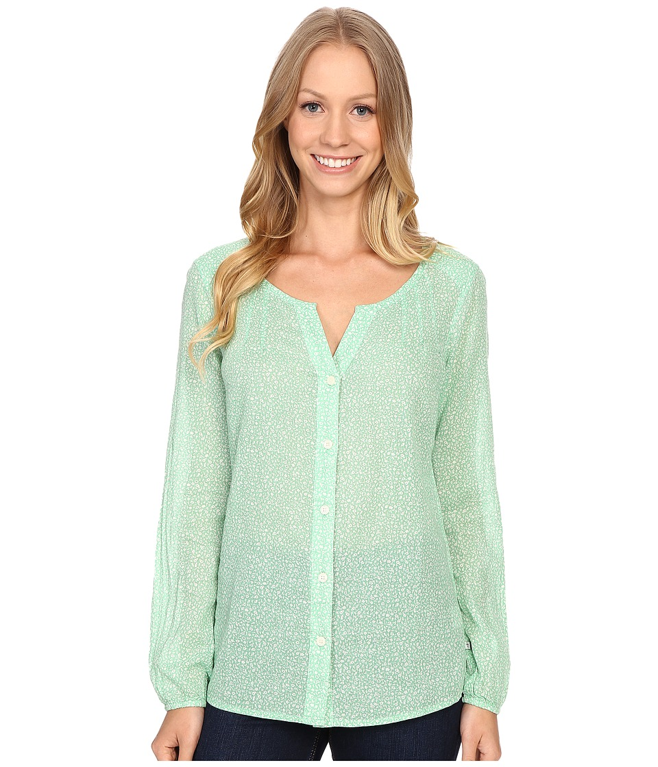 ToadampCo Airbrush Print Long Sleeve Shirt Green Awning Womens Blouse