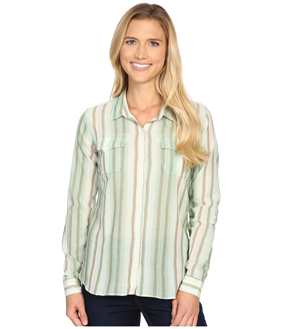 ToadampCo Airbrush L/S Shirt Green Awning Stripe Womens Long Sleeve Button Up