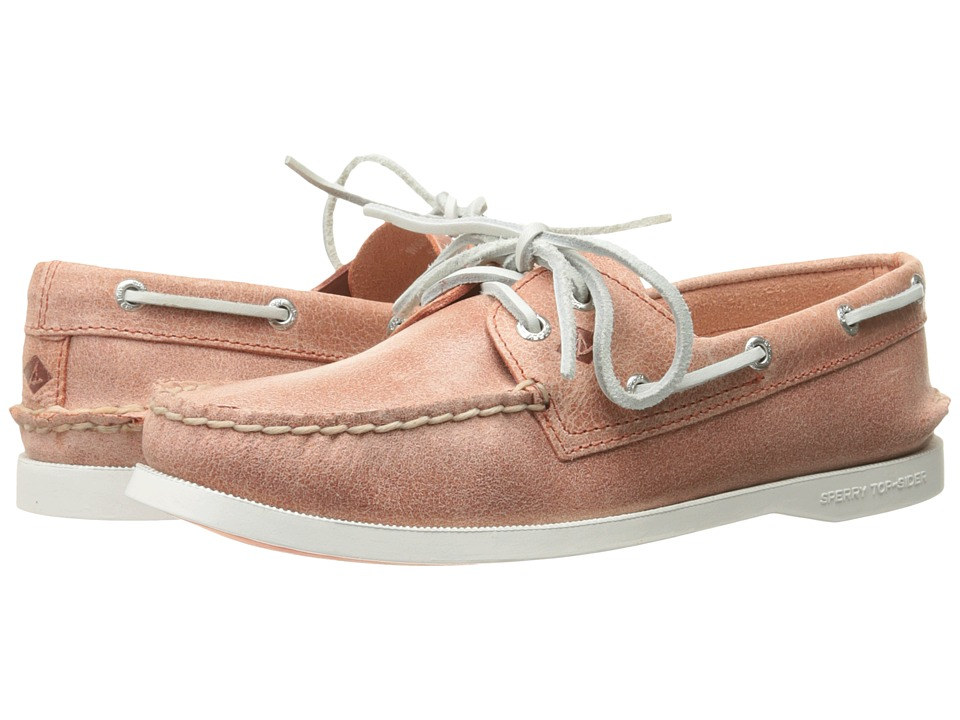 Sperry Top-Sider - A/O 2 Eye White Cap (Coral) Women