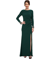 Eliza J - Long Beaded Sleeve ITY Gown with Ruching
