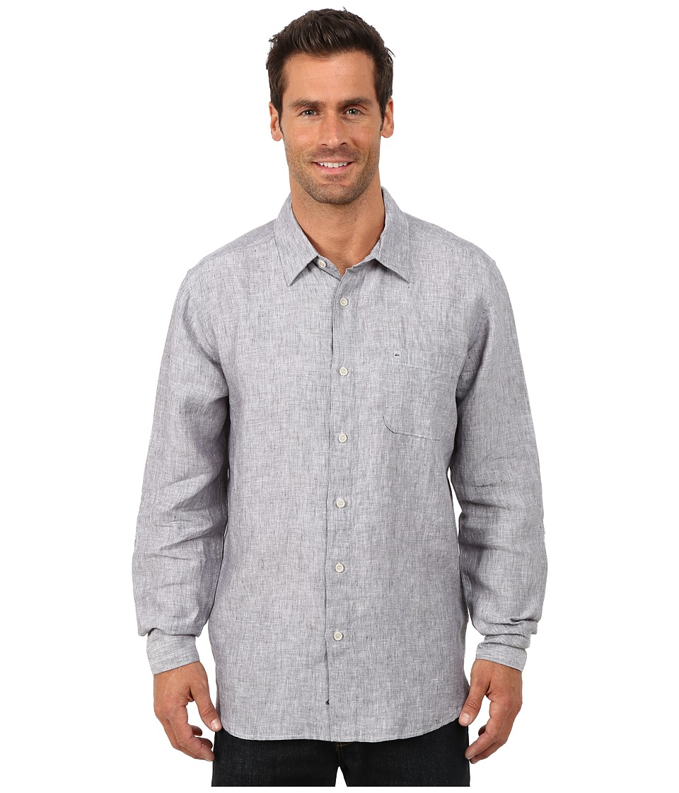 Quiksilver Waterman Burgess Isle Traditional Woven Top Carbon Mens Clothing