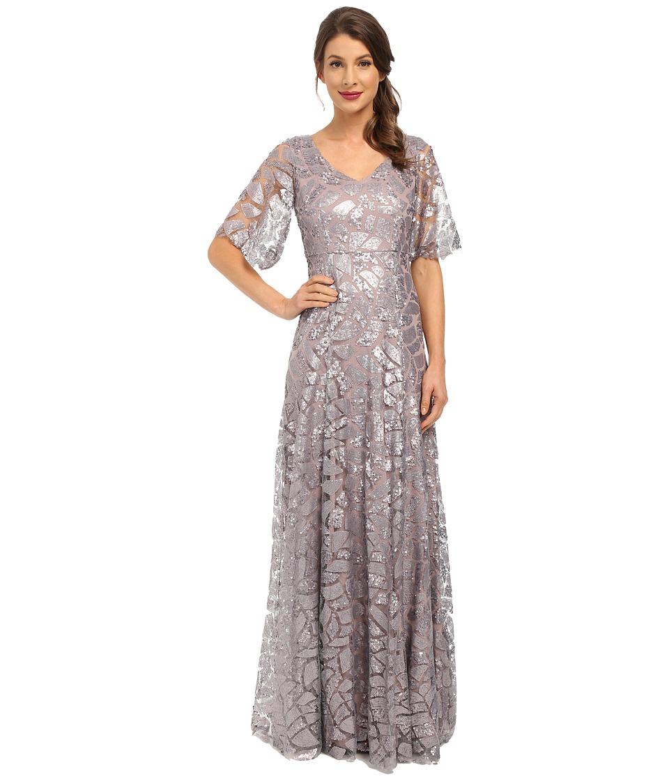 Donna Morgan Sequin Gown with Sleeve (Grey Ridge) Women