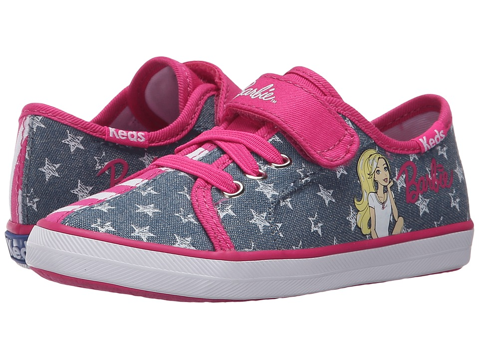 Keds Kids Barbie AC Split Toddler/Little Kid Denim/Pink Stripe Split Girls Shoes