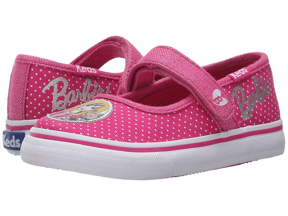 Keds Kids Barbie Double Up MJ Toddler/Little Kid Pink/White Dot Girls Shoes