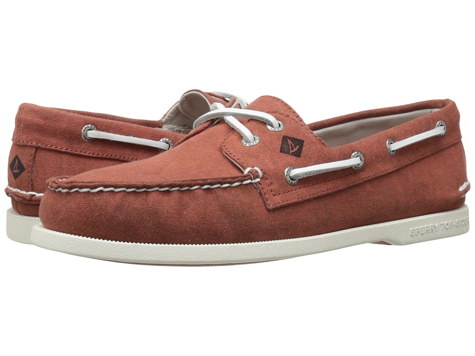 Sperry Top-Sider - A/O 2-Eye White Cap Canvas (Red) Men