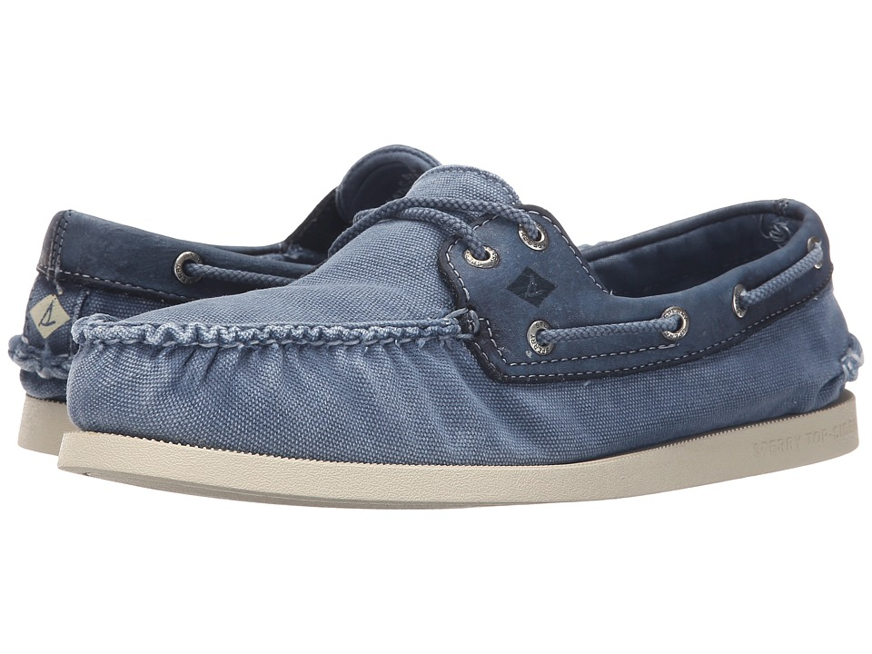 Sperry Top-Sider - A/O 2-Eye Wedge Canvas (Blue) Men