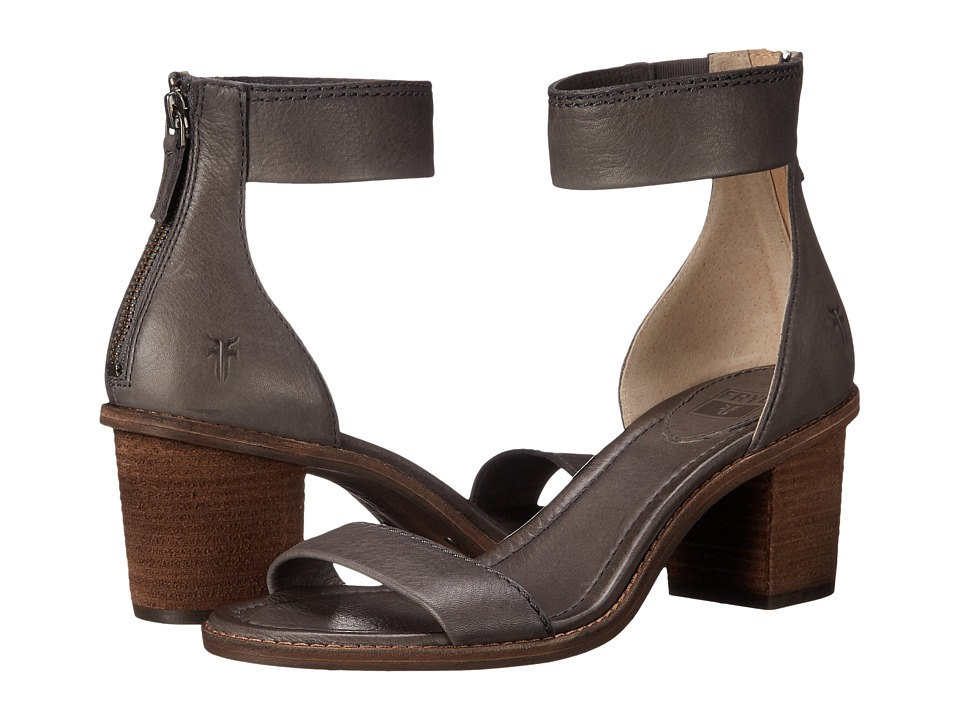 Frye Brielle Back Zip Sandal (Charcoal Soft Vintage Leather) High Heels