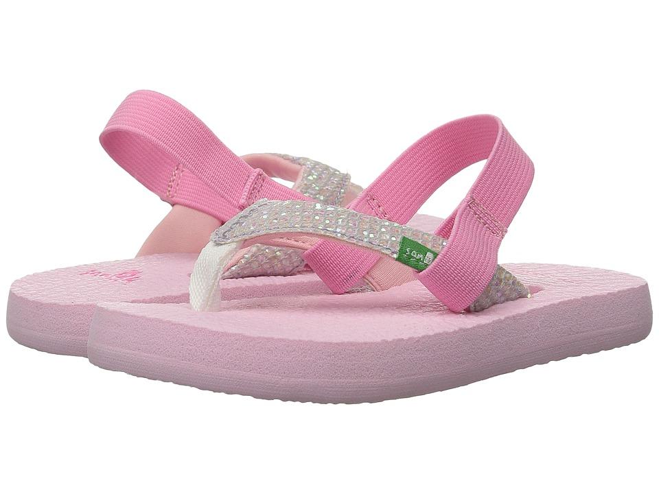 Sanuk Kids Yoga Glitter Toddler/Little Kid White/Light Pink Girls Shoes
