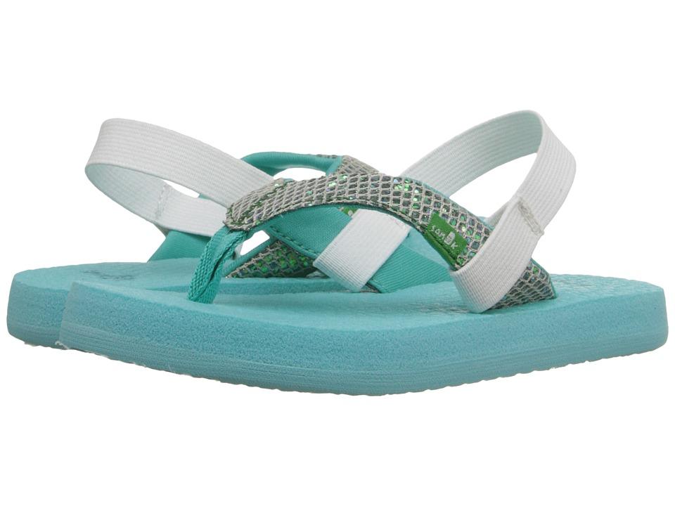 Sanuk Kids Yoga Glitter Toddler/Little Kid Turquoise/Light Turquoise Girls Shoes
