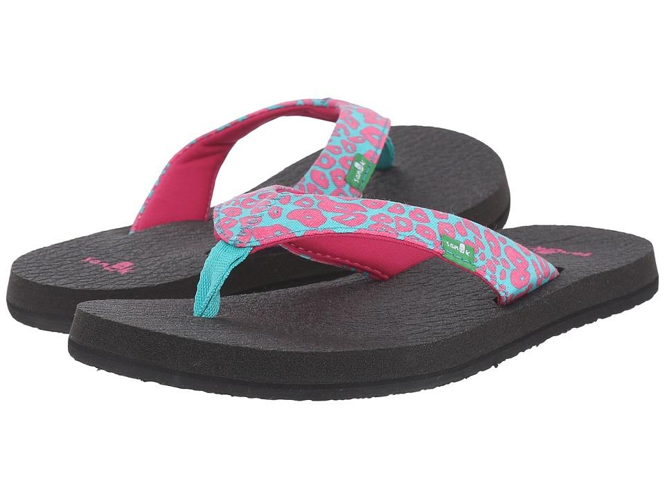 Sanuk Kids Yoga Wildlife (Little Kid/Big Kid) (Pink/Turquoise Cheetah) Girls Shoes