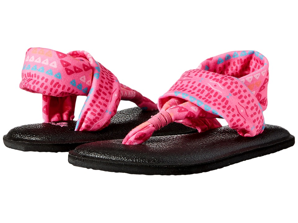 Sanuk Kids Yoga Sling Burst Prints (Toddler/Little Kid) (Pink Geo Pop) Girls Shoes