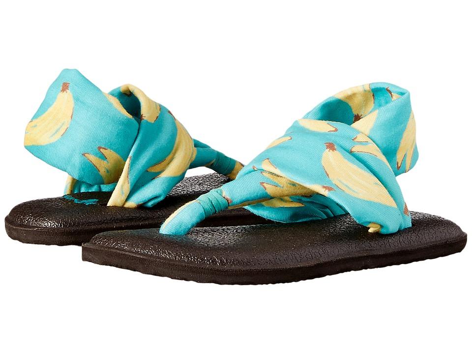 Sanuk Kids Yoga Sling Burst Prints Toddler/Little Kid Turquoise Bananas Girls Shoes