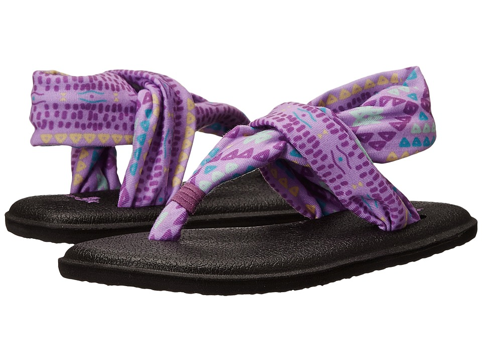 Sanuk Kids Yoga Sling Burst Prints (Toddler/Little Kid) (Hot Orchid Geo Pop) Girls Shoes