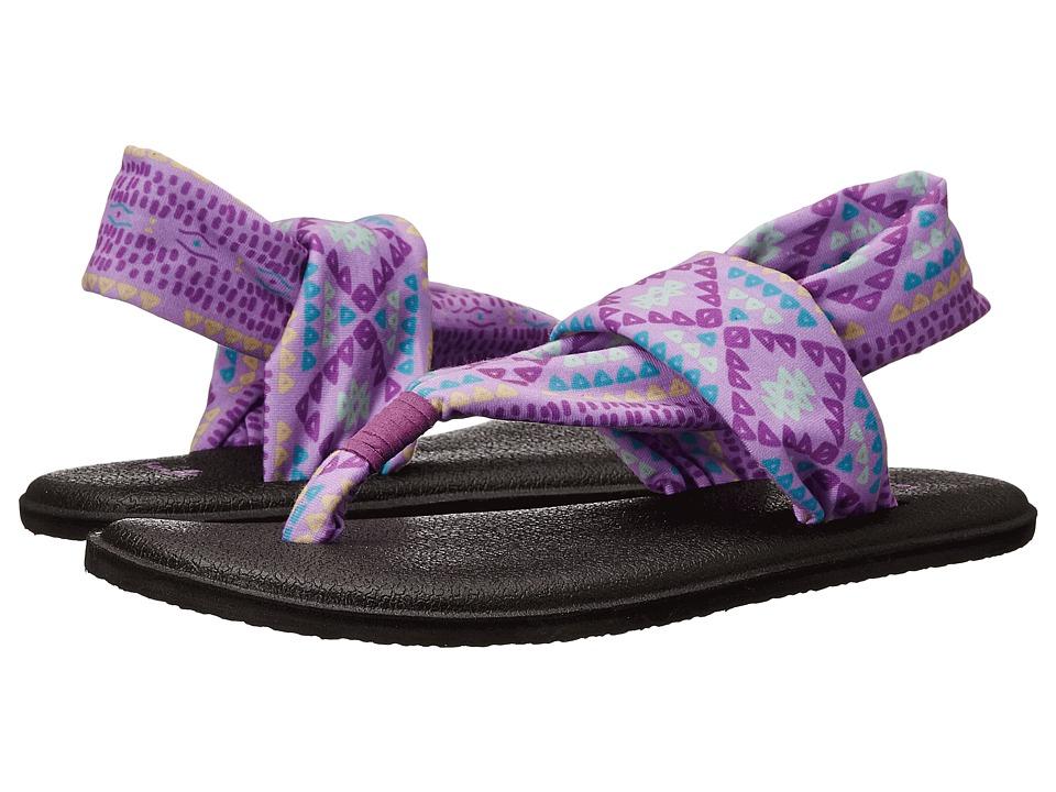 Sanuk Kids Yoga Sling Burst Prints (Little Kid/Big Kid) (Hot Orchid Geo Pop) Girls Shoes