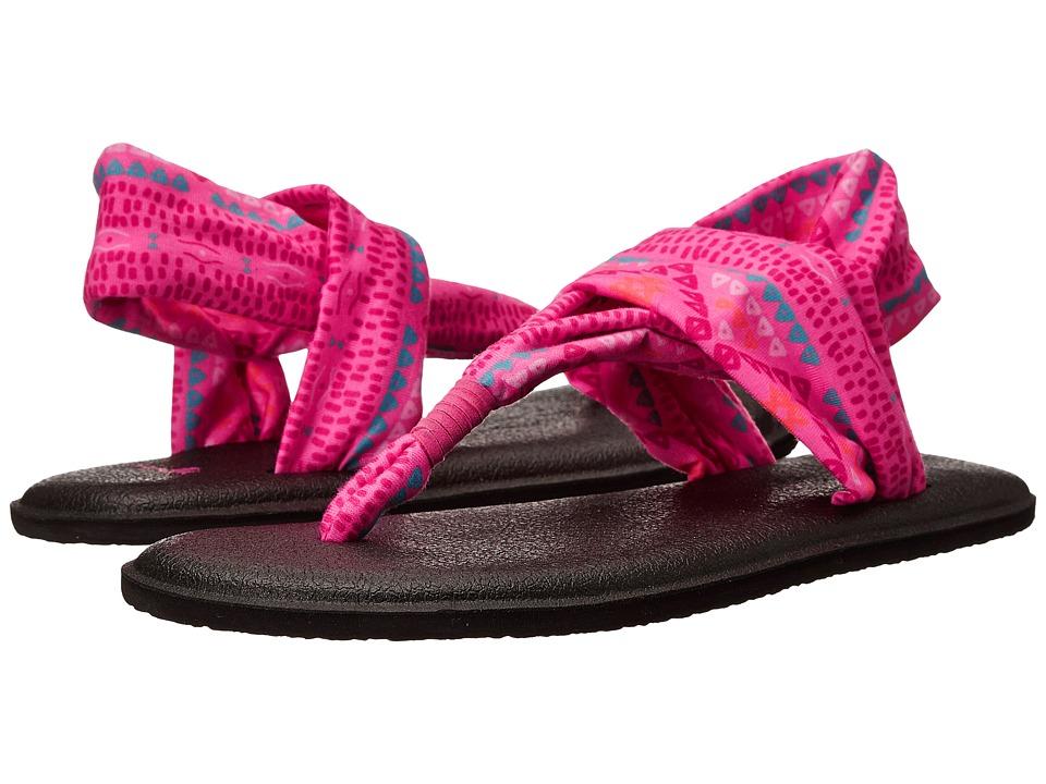 Sanuk Kids Yoga Sling Burst Prints (Little Kid/Big Kid) (Pink Geo Pop) Girls Shoes