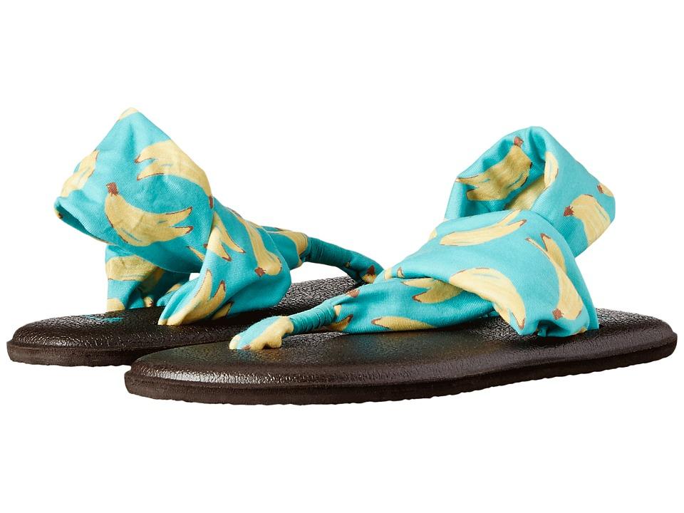 Sanuk Kids Yoga Sling Burst Prints Little Kid/Big Kid Turquoise Bananas Girls Shoes