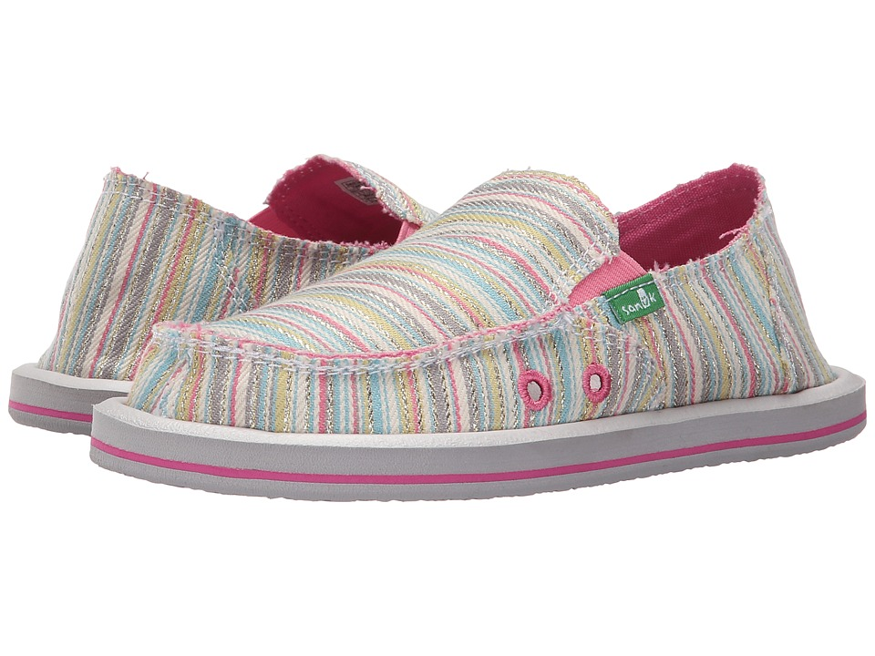 Sanuk Kids Donna Little Kid/Big Kid Aqua/Pink Stripe Girls Shoes