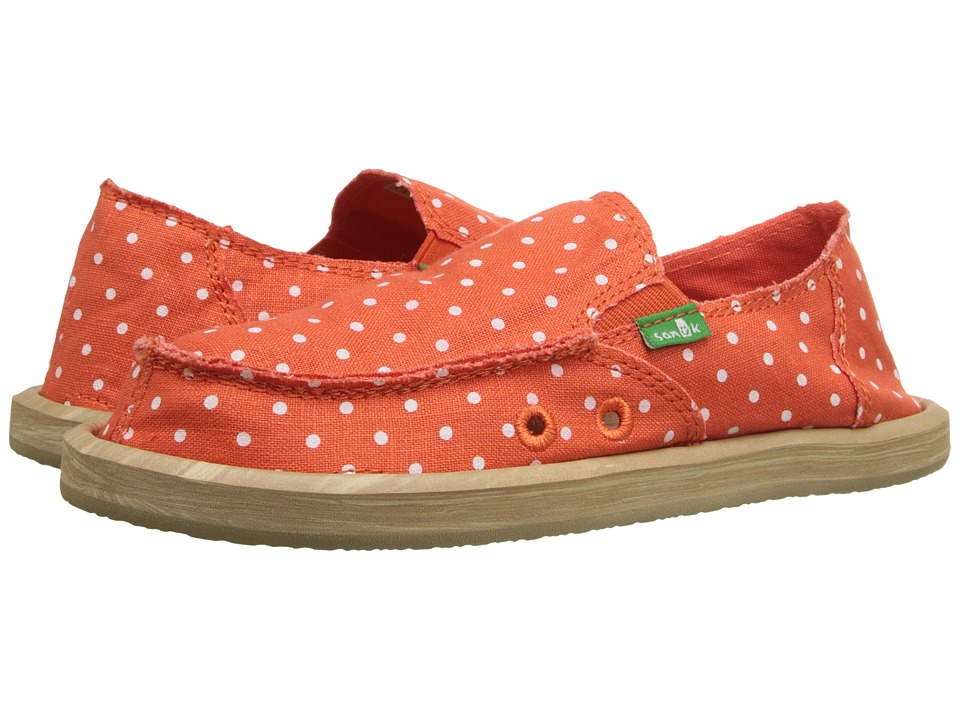 Sanuk Kids Hot Dotty Little Kid/Big Kid Flame/Natural Dots Girls Shoes