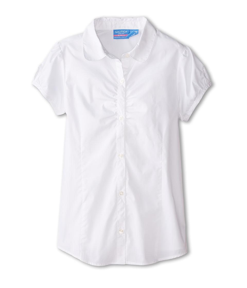 Nautica Kids Short Sleeve Woven Big Kids White Girls Clothing