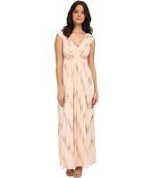 Sangria - V-Neck Foil Gown