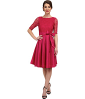 Sangria - 3/4 Sleeve Lace Bodice Fit & Flare with Bow Belt