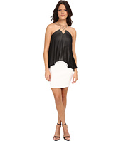 Sangria - Chiffon Pop Over Sheath with Chain Neck Detail