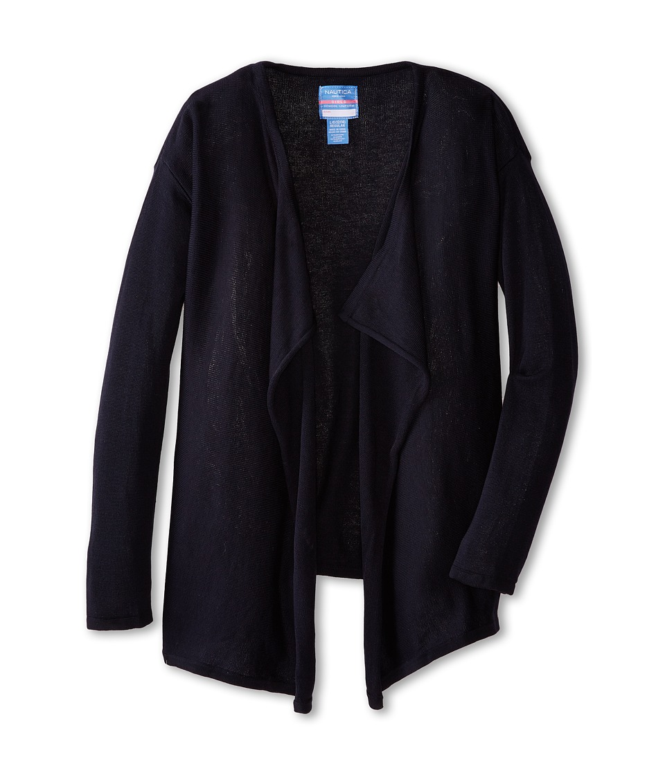 Nautica Kids Drape Front Cardigan Big Kids Su Navy Girls Sweater