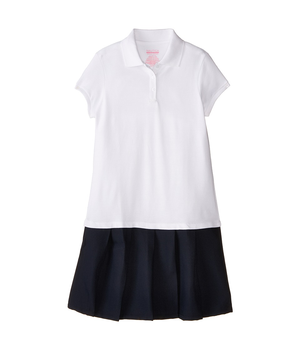 Nautica Kids Pique Dress with Poly Skirt Big Kids White Girls Dress