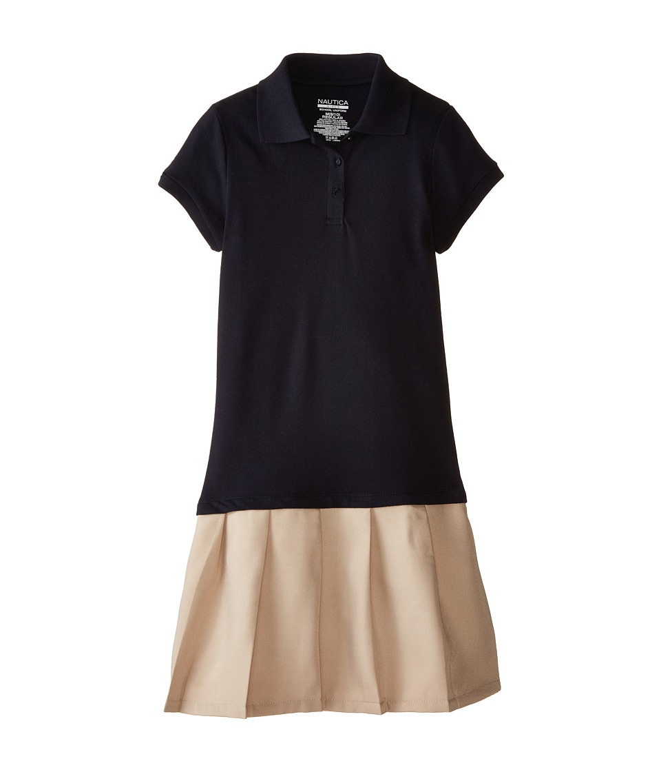 Nautica Kids Pique Dress with Poly Skirt Big Kids Su Navy Girls Dress