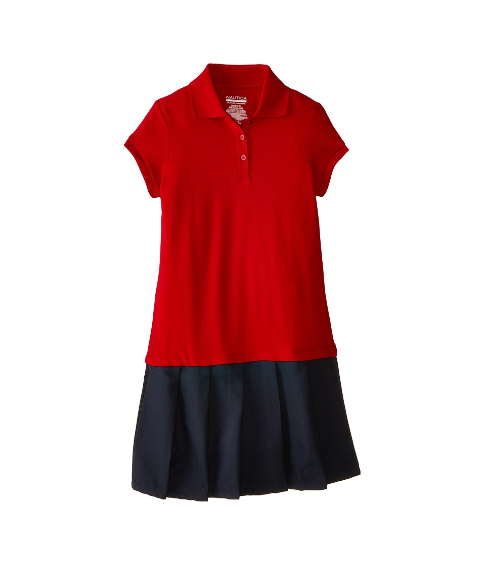 Nautica Kids Pique Dress with Poly Skirt Big Kids Red Girls Dress