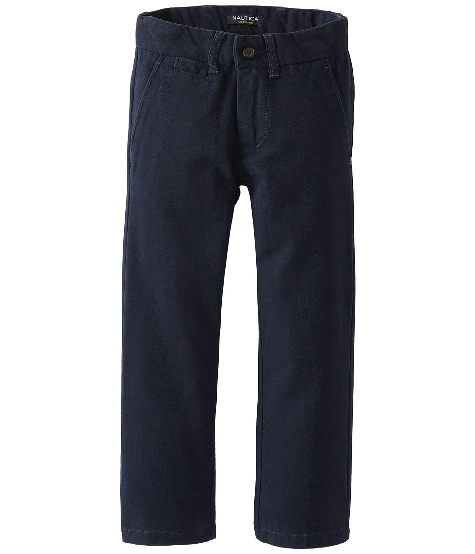 Nautica Kids - Flat Front Twill Pants (Big Kids) (Navy) Boys Casual Pants