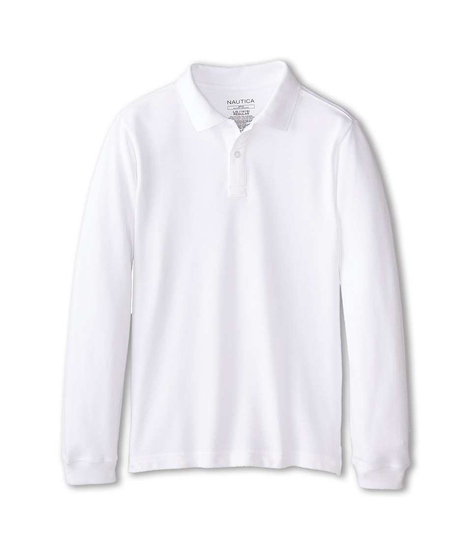 Nautica Kids Long Sleeve Pique Polo Big Kids White Boys Long Sleeve Pullover