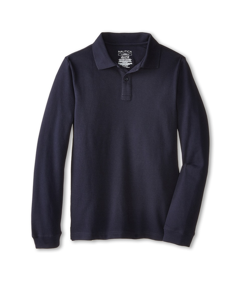 Nautica Kids Long Sleeve Pique Polo Big Kids Navy Boys Long Sleeve Pullover
