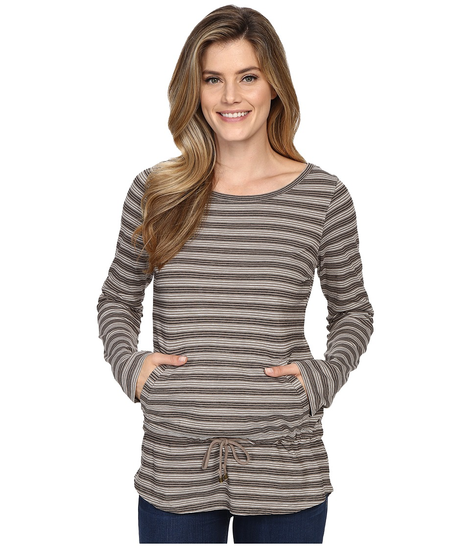 Royal Robbins Breeze Thru Stripe Cover Top Light Taupe Womens Long Sleeve Pullover