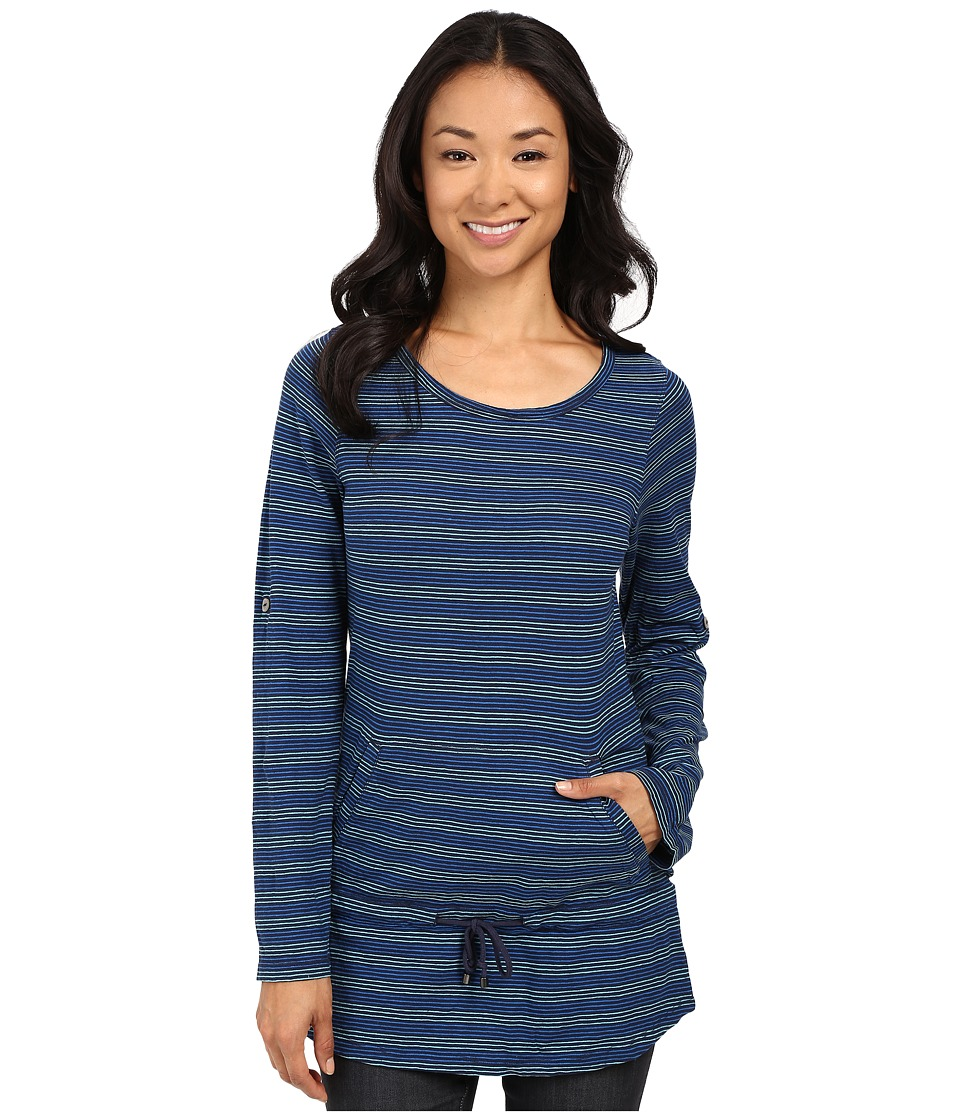 Royal Robbins Breeze Thru Stripe Cover Top Deep Blue Womens Long Sleeve Pullover