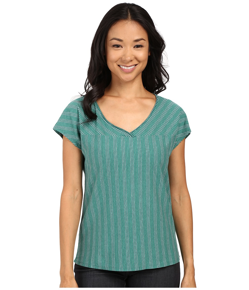 Royal Robbins Breeze Thru Stripe Short Sleeve Top Sea Glass Green Womens Short Sleeve Pullover