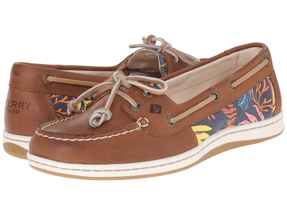 Sperry Top Sider Firefish Seaweed Print Tan/Pink Multi Womens Lace up casual Shoes