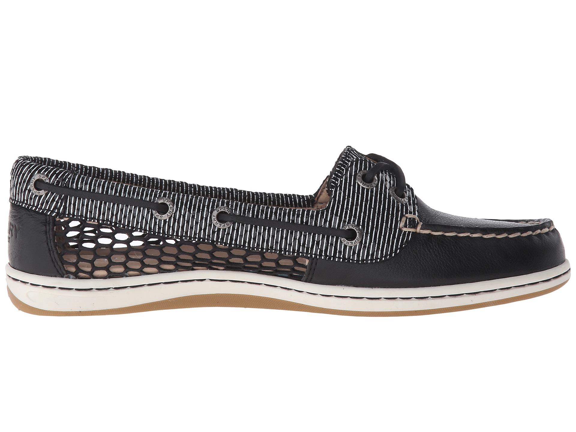 Sperry Men S A O  Eye Striped Navy Boat Shoe