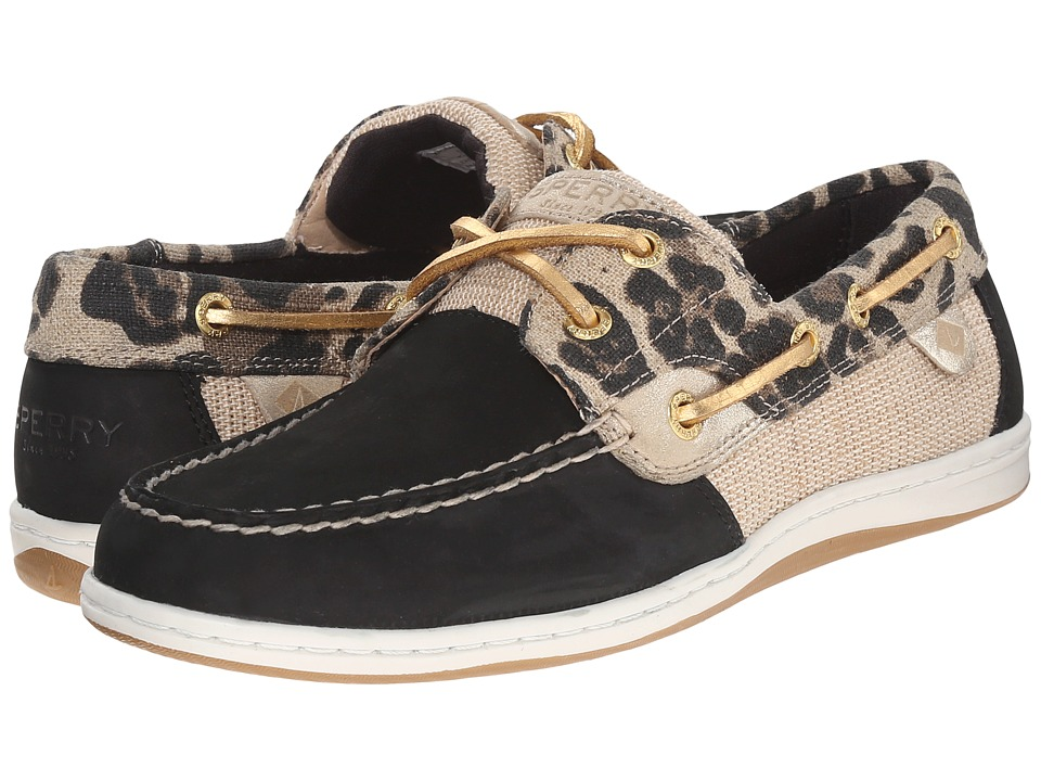 Sperry Top Sider Koifish Animal Black Leopard Womens Lace up casual Shoes
