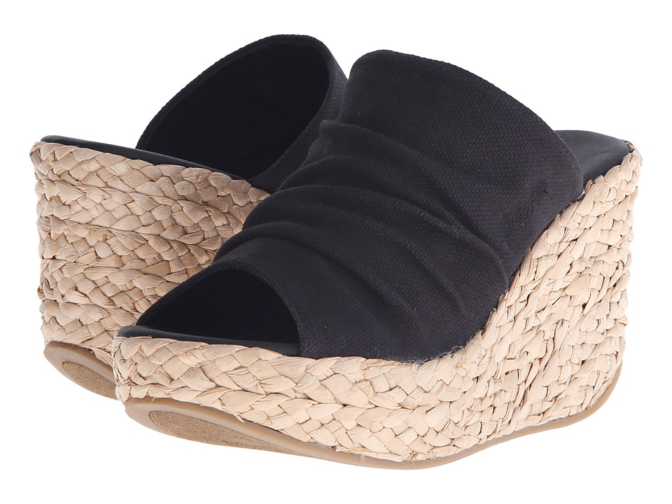Blowfish Drapey Black Rancher Canvas Womens Wedge Shoes