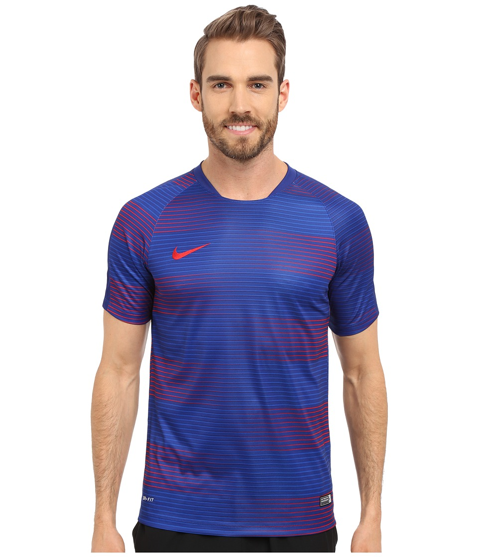 Nike Flash Graphic 1 Soccer Shirt Deep Royal Blue/Deep Royal Blue/University Red Mens Short Sleeve Pullover