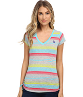 U.S. POLO ASSN. - Striped V-Neck T-Shirt with Ruching