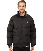 U.S. POLO ASSN. - Puffer Jacket with Striped Rib Knit Collar