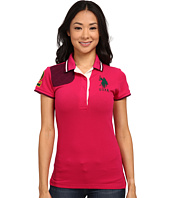 U.S. POLO ASSN. - Solid Pique Polo with Quilted Shoulder Detail