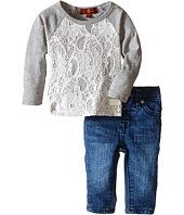 7 For All Mankind Kids - Lace Long Sleeve Tee and Denim Set (Infant)