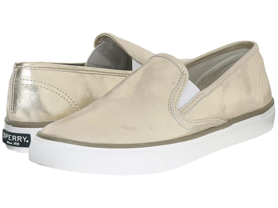 Sperry Top Sider Seaside Metallic Platinum Womens Slip on Shoes