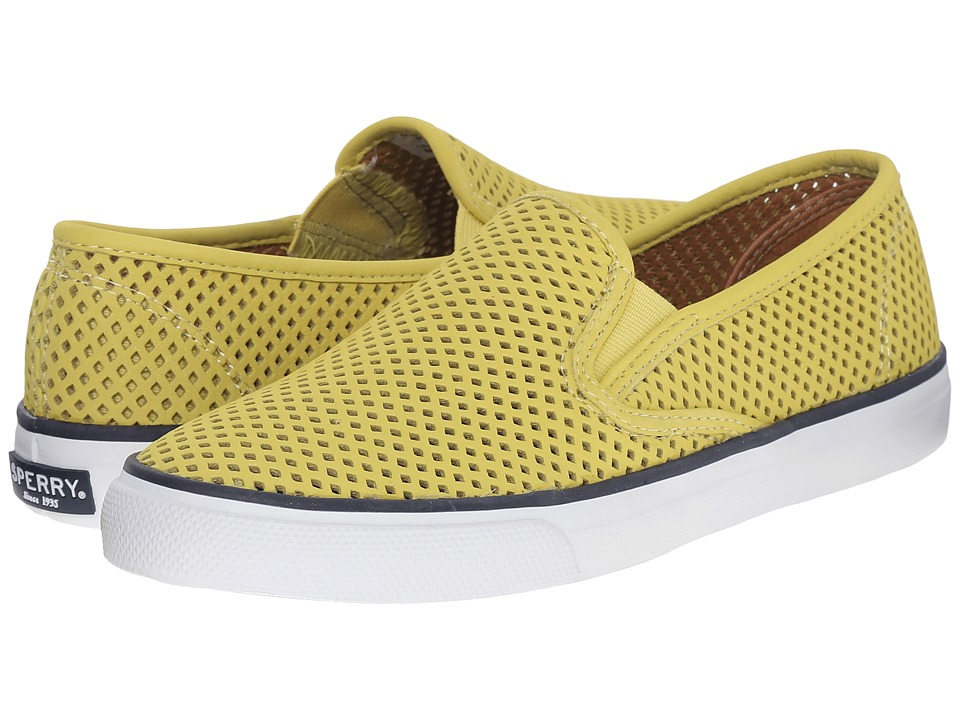 Sperry Top Sider Seaside Perfs Yellow Womens Slip on Shoes