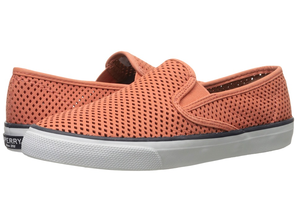 Sperry Top Sider Seaside Perfs Coral Womens Slip on Shoes