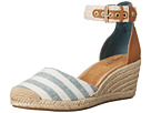 Image of Sperry Top-Sider - Valencia Canvas (Blue/White Stripes) Women's Wedge Shoes